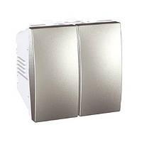 Выключатель 2-кл., алюминий. Unica Top MGU3.211.30, фото 1