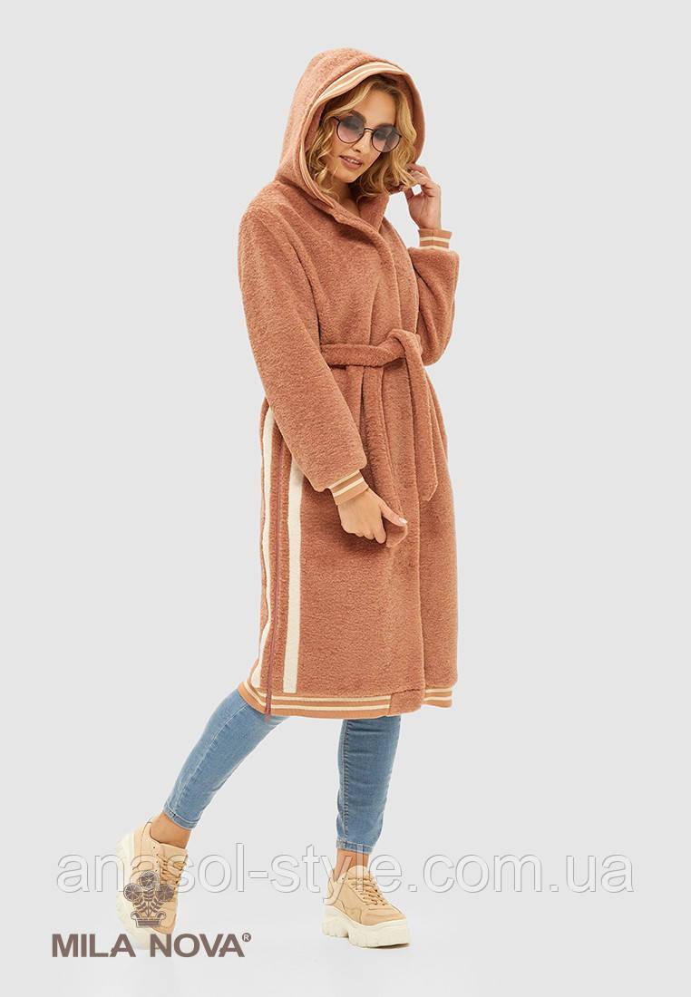 Пальто женское кашемировое в спортивном стиле тренд 2021 пудра