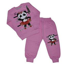 Детский трикотажный костюм для девочек  на байке ,1-4 года (4 ед в уп)