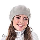 Вязаный женский берет  W-Luxury двухслойной вязки светло серый, фото 2