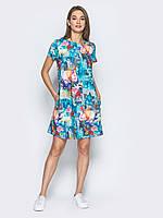 Женское  платье А-образного силуэта play M 46 голубой цвет UAJJ520_6 желтый