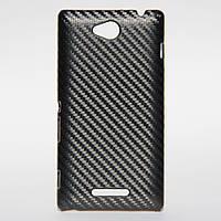Чехол под карбон для Sony Xperia C C2305 S39H черный