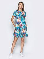 Женское свободное платье из льна play S 44 бирюзовый принт цветы UAJJ520_6