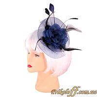 Женская шляпка-заколка, синяя
