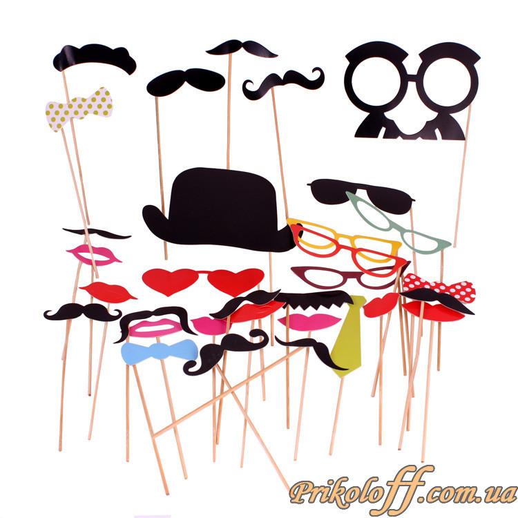 """Набор """"Усы, очки и прикольчики на ручке"""", 32 предмета"""