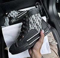 B23 high-top Dior Oblique sneaker black | кеды женские и мужские; черные; люкс; кожаные; осенние / весенние
