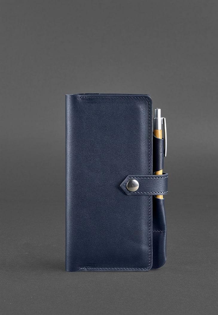 Тревел-кейс для документов кожаный на кнопке с карманом для ручки. Цвет синий