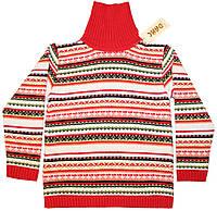 Свитер детский шерстяной, красный в яркие полоски, рост 110/116 см, Дайс