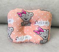 """Ортопедическая подушка для новорожденных """"мишка Girl с плюшем минки"""""""