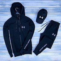 Спортивный костюм мужской демисезонный Under Armour черный | весенний осенний