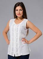 Блузка женская белая с вышивкой, на пуговицах, хлопок, Индия, 44-48 р-ры, фото 1