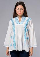 Блузка женская белая с бирюзовой вышивкой, хлопок, Индия, 44-52 р-ры