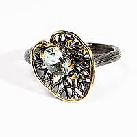 Серебряное кольцо с зеленым аметистом, 1229КА