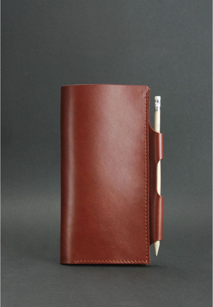 Кожаный тревел-кейс для документов без застежки с карманом для ручки. Цвет коричневый