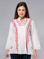 Блузка женская белая с красной вышивкой, хлопок, Индия, 44-52 р-ры