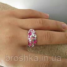 Белое кольцо ювелирная бижутерия с розовыми Swarovski, фото 3