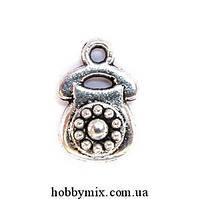 "Метал. подвеска ""телефон"" серебро (1х1,5 см) 5 шт в уп."