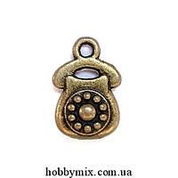 """Метал. подвеска """"телефон"""" бронза (1х1,5 см) 5 шт в уп."""