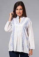 Блузка женская белая с голубой вышивкой, хлопок, Индия, 44-52 р-ры
