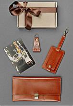 """Подарочный набор кожаных аксессуаров для путешественника """"Буэнос-Айрес"""". Цвет коньяк"""
