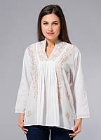 Блузка женская белая с бежевой вышивкой, хлопок, Индия, 44-52 р-ры