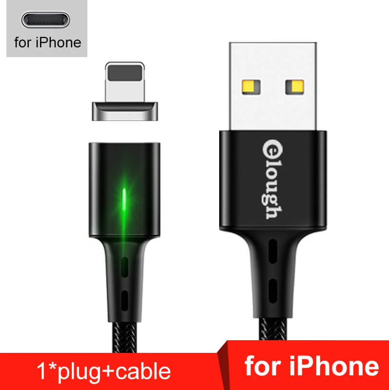 Elough E-Star 3A магнітний кабель Lightning для iPhone. Швидка зарядка Qualcomm Quick Charge 3.0 Black