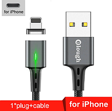 Elough E-Star 3A магнітний кабель Lightning для iPhone. Швидка зарядка Qualcomm Quick Charge 3.0 Black, фото 2