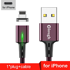 Elough E-Star 3A магнітний кабель Lightning для iPhone. Швидка зарядка Qualcomm Quick Charge 3.0 Black, фото 3