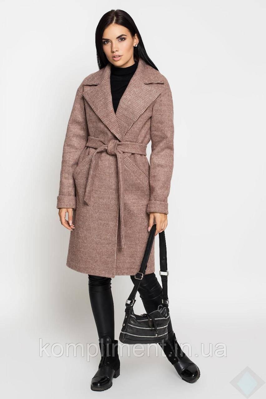 Пальто женское полушерсть Анталия, осень-весна, лапка-коричневый