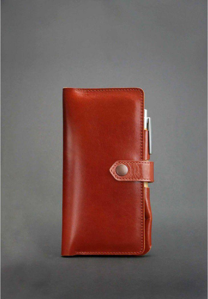 Тревел-кейс для документов кожаный на кнопке с карманом для ручки. Цвет коричневый