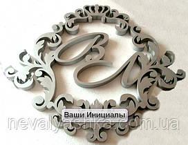 Фамильный Герб 60х50см Свадебные Инициалы из Пенопласта, монограмма, семейный герб на свадьбу инициалы