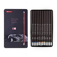 Набор угольных карандашей Superior 12 штук в металлическом пенале