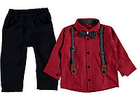 """Комплект на мальчика с подтяжками """"Фред"""" (бордовый) 74-92 см"""