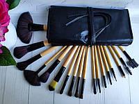 Профессиональные кисти для макияжа 18 шт в чехле натуральный ворс пони +таклон, фото 1