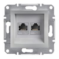 Розетка компьютерная двойная RJ45 алюминий Asfora Plus EPH4400161