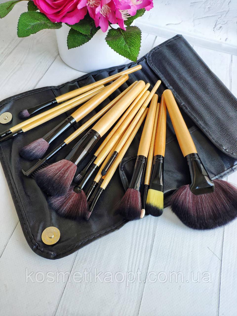 Набор кистей для макияжа 16 штук с деревянными ручками + чехол на кнопке