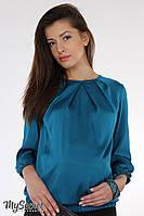 """Шелковая блуза для беременных """"Еvelyn"""", темно-морская волна 2 44"""