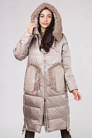 Зимнее пальто с мехом козлика Mishele 20011, фото 1
