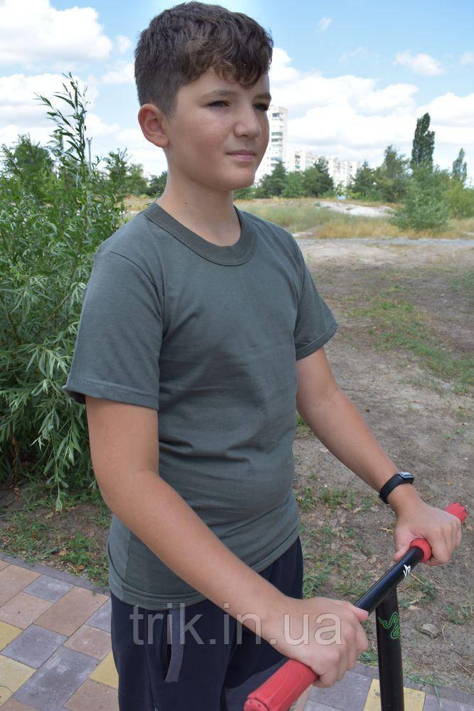 Футболка подростковая для мальчика цвет хаки