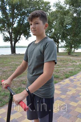 Футболка подростковая для мальчика цвет хаки, фото 2