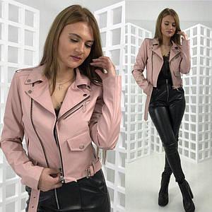 Укороченная куртка-косуха из кожзама на замшевой основе с поясом 42-46 р