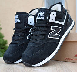 Зимние мужские кроссовки New Balance 574 с мехом черные с белым . Живое фото. Реплика