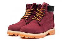 Женские зимние ботинки на меху Timberland 6 Premium Boot, бордовые