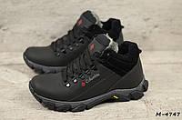 Мужские кожаные зимние ботинки (зима утепленные шерстю, натуральная кожа , черные)