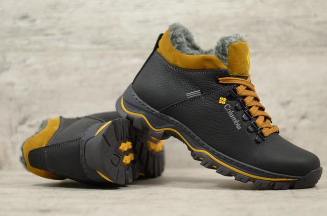 Чоловічі шкіряні черевики в стилі Columbia, спортивні ботинкие Коламбія прошиті з натуральної шкіри