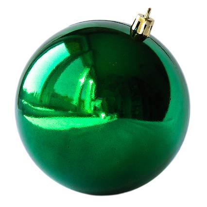 Елочная игрушка - шар, D10 см, зеленый, глянец, пластик (890957)