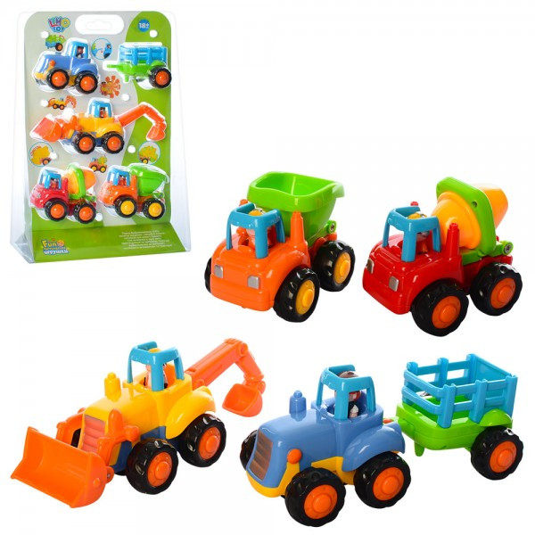Набор супер прочных машинок стройтехники Limo toy 4 машинки 326