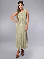 Платье -халат, оливковое, хлопок, Индия, на 46-50 размеры
