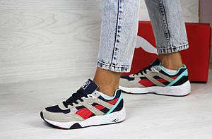 Женские кроссовки Puma Trinomic,замшевые,серые с красным/голубым, фото 2