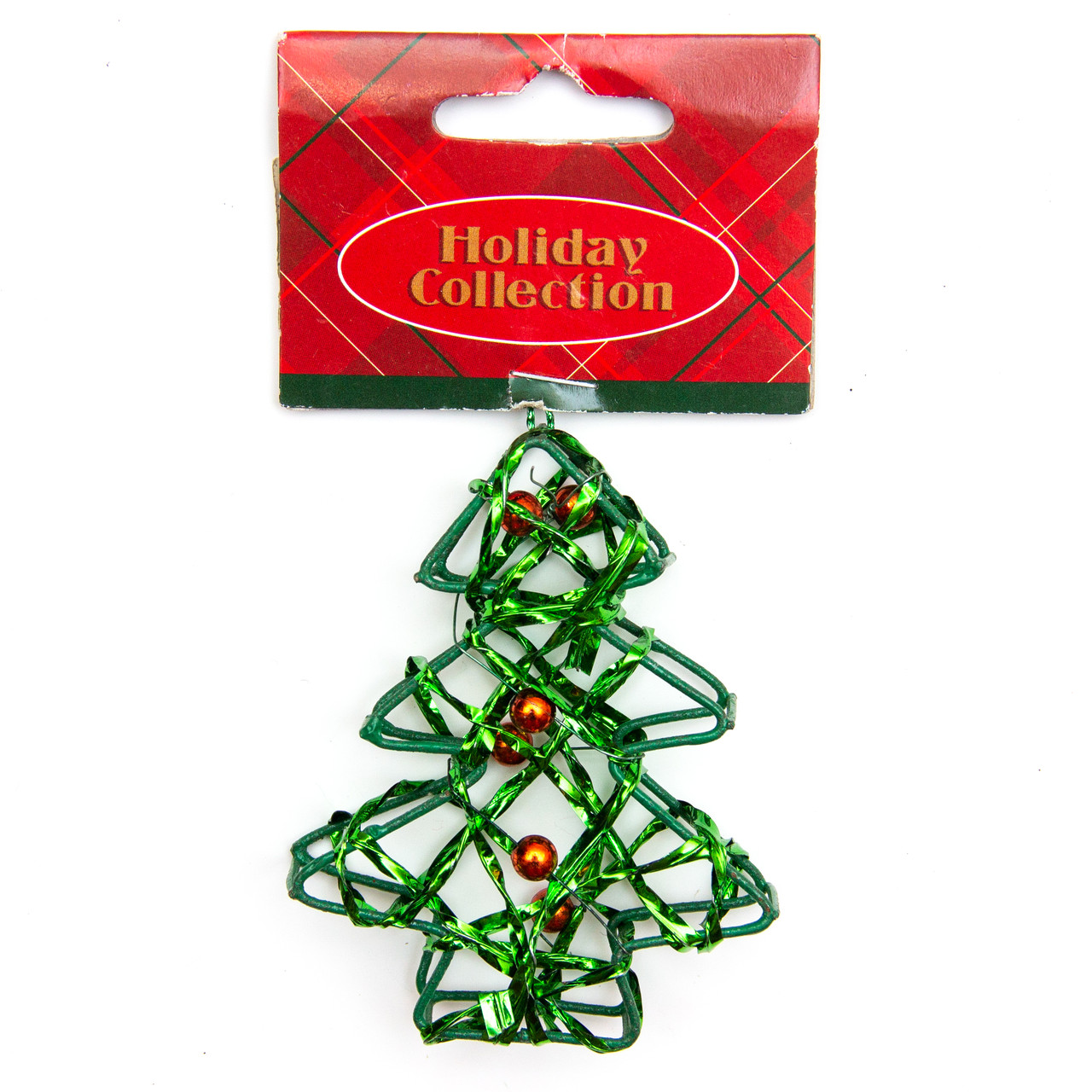 Елочная игрушка из проволоки, зеленая елочка, 7, 6см (000685-10)